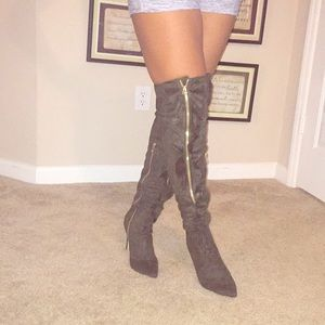 NIB- Trendy Olive vegan suede thigh high boot!