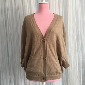 Ellen Tracy taupe oversize sweater cardigan