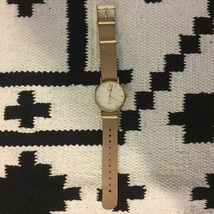 Timex gold and brown leather watch