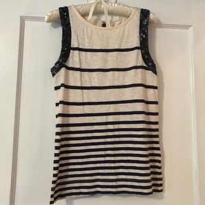 J.Crew Stipe Tank with Sequin Detail
