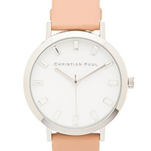 Christian Paul silver and beige leather watch