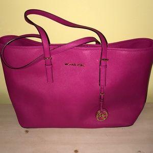 KORS Michael Kors Bags - Price drop!! Raspberry Large Jet Set Travel e63ec776e8537