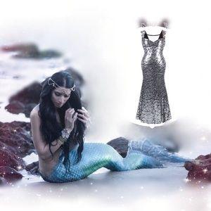 Dresses & Skirts - Silver Mermaid Sequin Maxi Holiday Dress, S-XXL