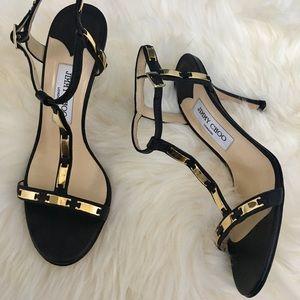 Jimmy Choo Gold Embellished Black Sandals