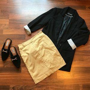Khaki high waisted pencil skirt