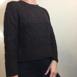 Theory Brown Cable Knit Alpaca Long Sleeve Sweater
