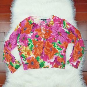 Anne Klein Floral Sweater Sz M