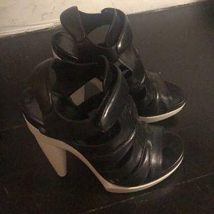Balenciaga Black and White Cage Sandal Heels