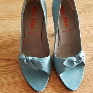 Miu Miu blue bow pumps heels shoes 9.5 10 peep toe