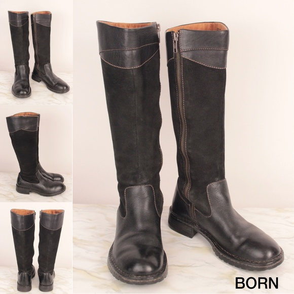cce1baf236a Born Shoes - Moto High Boots Black Knee Suede Zip Leather S03