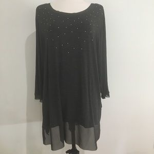 Belldini gray blouse with sheer hems size 3x