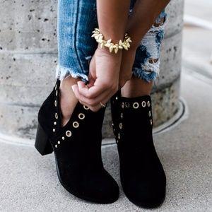 Shoes - Grommet Suede Booties