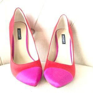 New Pumps Shoemint Satin Pink Red Heels 6