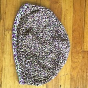 Accessories - New, Hand knit hat, purple and green beanie!