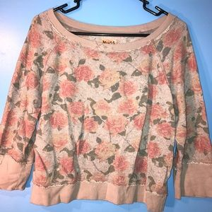 Distressed Cropped Floral Sweater