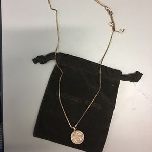 Michael Kors Rose Gold Long Disc Necklace