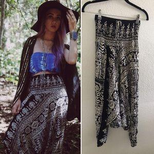Pants - Black and white tribal print harem pants