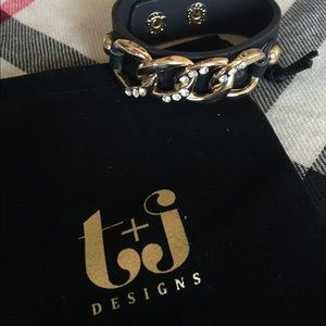Black Vegan Leather with Gold Chain Cuff Bracelet