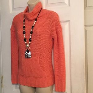 Beautiful coral sweater with front pocket
