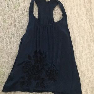 Navy blue special occasion sleeveless blouse
