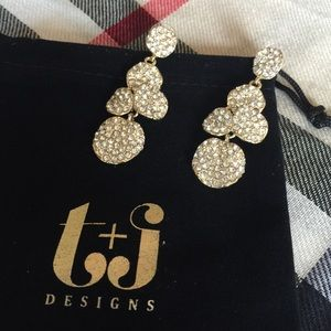 Gold Pave Drop Earrings ❤️