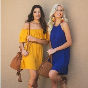 Dresses & Skirts - Off Shoulder Ruffle Golden Midi Dress