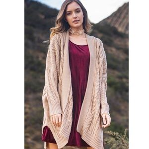 Oversized Cozy Taupe Long Knitted Cardigan