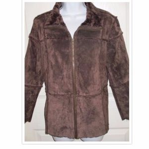 Westbound Brown Shearling Faux Fur Zip Coat SZ PM