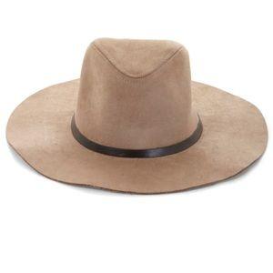 BCBG MAXAZZRIA / natural suede Panama hat