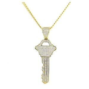 Other - Silver & Cubic Zirconia Key Pendant Cuban Chain
