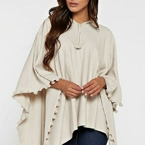 Oatmeal hooded poncho