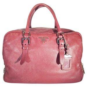 Prada Bauletto bicolor zipper tote satchel