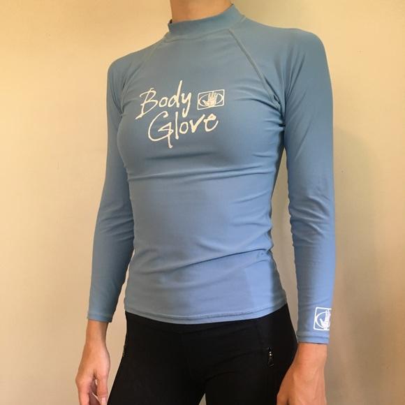Blue Rash Guard Body Glove Ocean Swim Top UV Small
