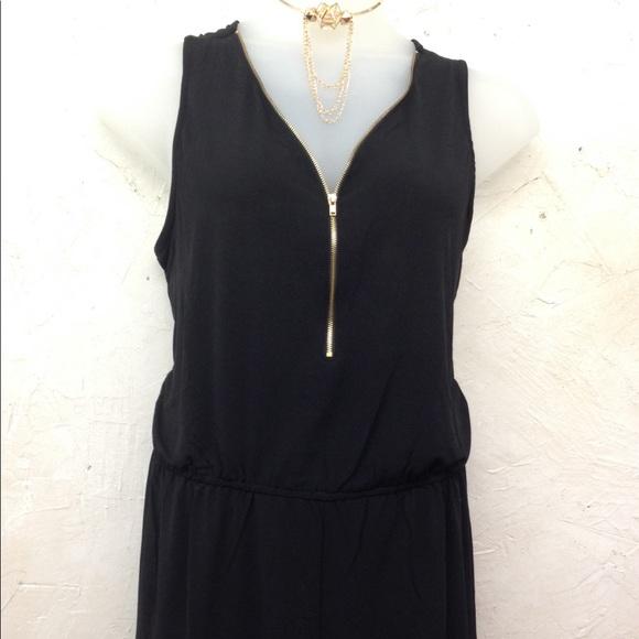 Pants - Plus black romper with gold zipper