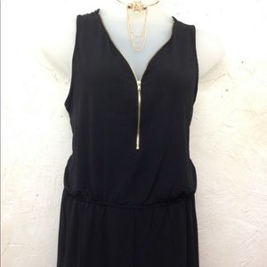 Plus black romper with gold zipper