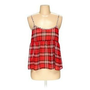 Red plaid babydoll tank top