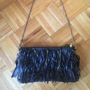 Melie Bianco FB lack and gold fringe purse