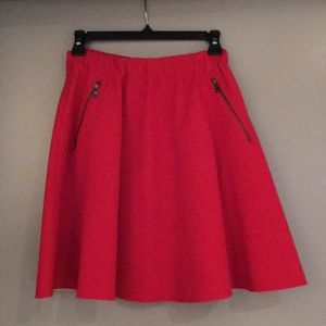 Zara red a- line skirt with zipper detail