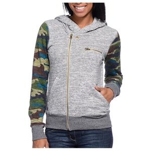 Element Archer gray and camp zip up hoodie