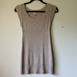 Forever 21 Wool Blend Short Sleeve Tan Sweater Top