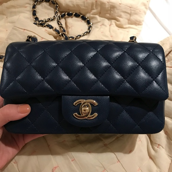 928e36653fe CHANEL Bags   Sold Rectangle Mini Flap Navy Caviar   Poshmark