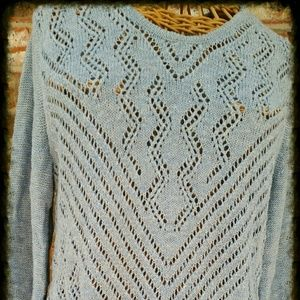 Fog Blue Knit Sweater with fringe by Inc Sz Med