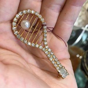 Vintage Jewelry - Vintage Rhinestone Tennis Racket Brooch