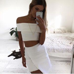 Sabo Skirt White Frayed Denim Skirt