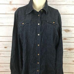 Talbots dark wash Denim Button Up cotton shirt 14