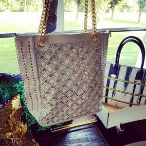Handbags - White bing & gold handbag
