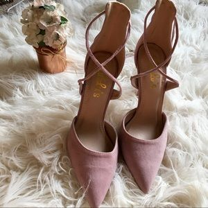 NWOT LuLus: Suede Lace Up Heels, Dusty Rose, 8.5