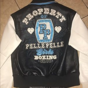 Pelle pelle leather jacket navy blue and white