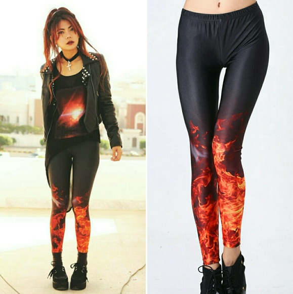 8a351d75e6 Romwe flame print leggings black red fire Medium