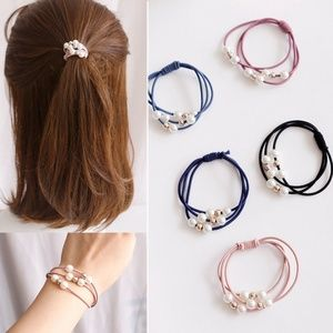 Set of 5 Pink Blue White Pearl Gold Beads Hair Tie